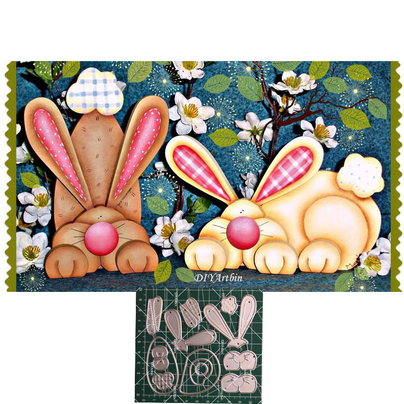 2pcs Rabbit Metal Cutting Dies Embossing Scrapbooking Craft Die For DIY Card making