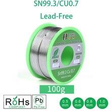 100g kurşunsuz lehim teli 0.5 1.0mm kurşunsuz kurşunsuz Rosin çekirdek elektrik lehim RoHs