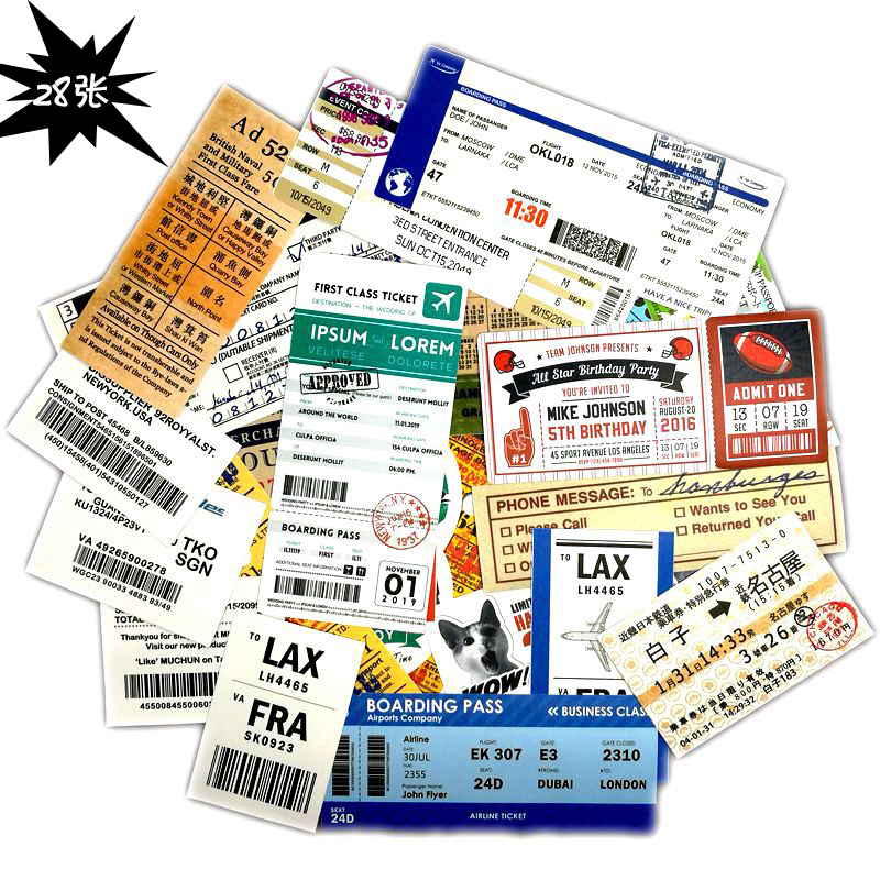 28 PCS Travel Boarding Pass Ticket Waterproof Creative Travel Sticker For Laptop Suitcase Motorcycle Toy Stickers
