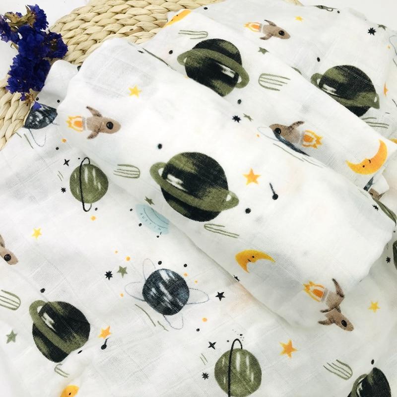 Space 100% Bamboo Fiber Muslin Blanket Print Floral Baby Bedding Bath Towels Blankets Newborn  Blanket For Babies Swaddle Wrap