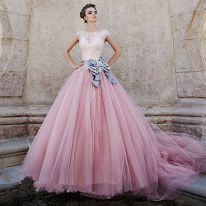 2018 Vintage O-Neck Pink Lace Sweep Train Crystal Bridal Gown With Bow Vestido De Noiva Guaranteed Mother Of The Bride Dresses