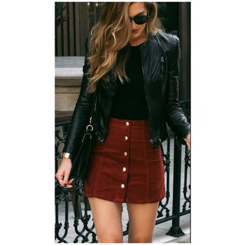 Autumn Suede Leather Skirt Women High Waist Lace Up Suede Leather Pocket With Button Preppy Short Mini Skirts Brown And Red Plus 2