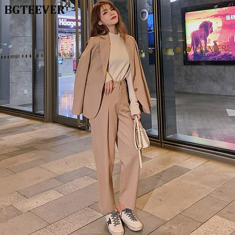 Casual Pant Suit Women Notched Blazer Jacket & High Waist Pant Elegant Female Trouser Suits 2019 Autumn 2 Pieces Set Femme