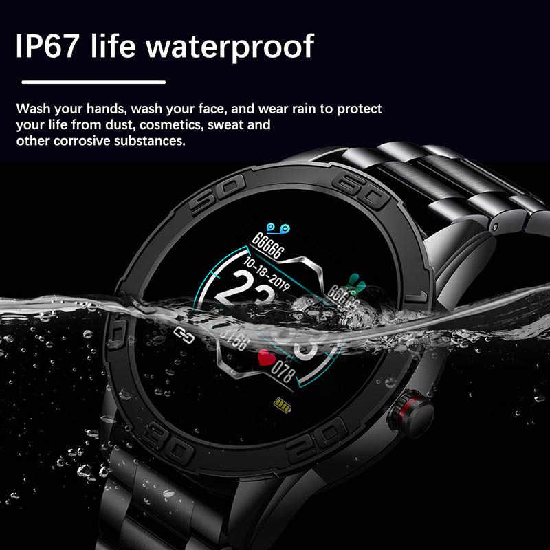 LIGE yeni çelik kemer akıllı saat erkekler kalp hızı kan basıncı monitörü bilgi hatırlatır Smartwatch spor çok fonksiyonlu mod