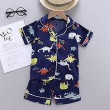 Zestaw piżamowy maluch Baby Boy letnie ubrania dinozaur piżamy piżamy T koszula spodenki dziewczyny zestaw ubrania dla dzieci sukienka dla chlopca
