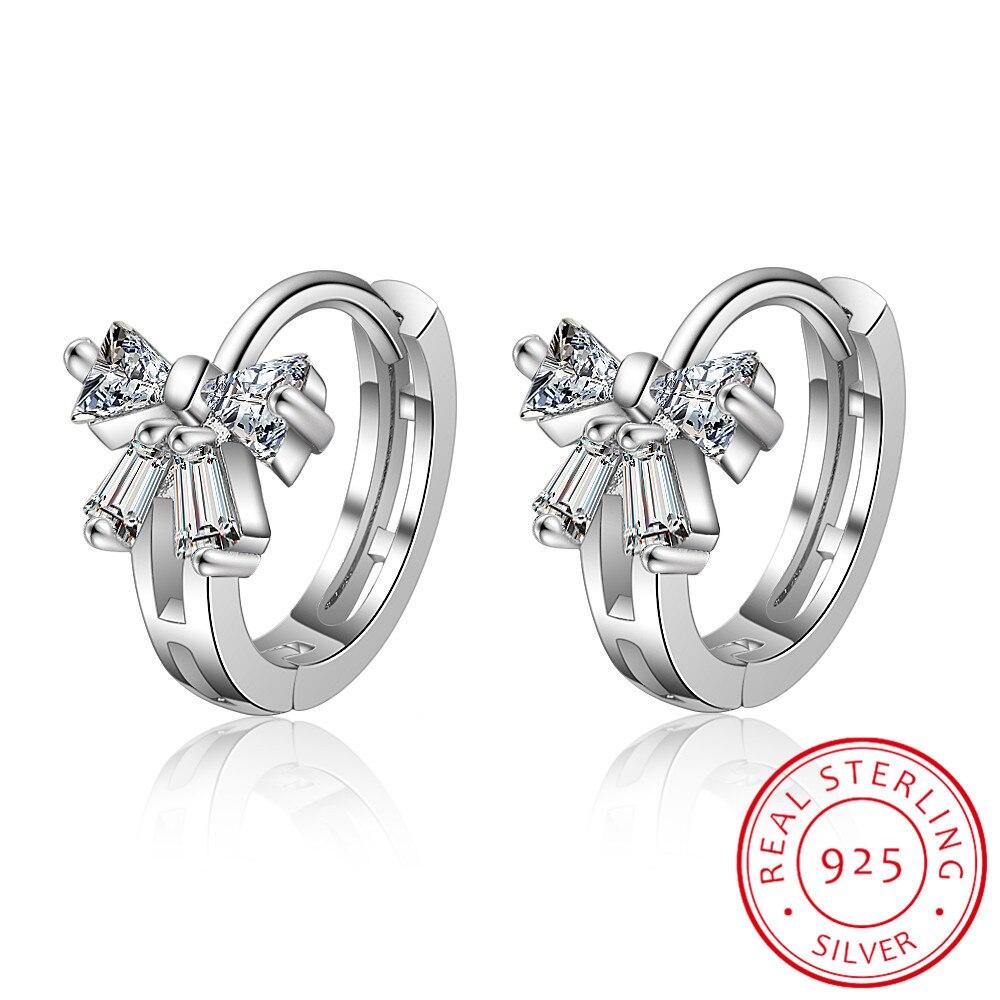 Women Girl Solid 925 Silver Birthstone Butterfly Huggie Hoop Earrings.