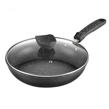 Frying Pan 28CM Non-stick Maifan Stone Frying Pan with Glass Cover Multi-purpose Pancake Steak Pan Fumes-free for Gas Induction
