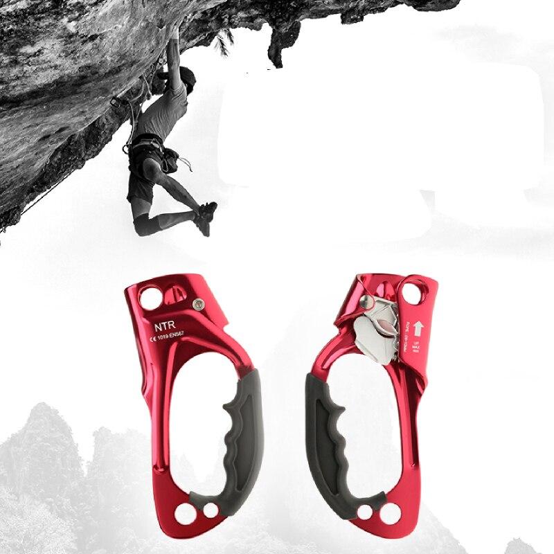 Spor ve Eğlence'ten Tırmanma Aksesuarları'de CE sıcak dövme havacılık alüminyum kaya tırmanışı dağcılık Arborist el Ascender cihazı kelepçe 8 12mm halat aracı açık havada title=
