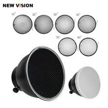 Difusor Reflector estándar de 7 pulgadas y 18cm con rejilla de nido de abeja para montaje universal, K 150A de Flash estroboscópico de luz de estudio, E250, E300, K 180A