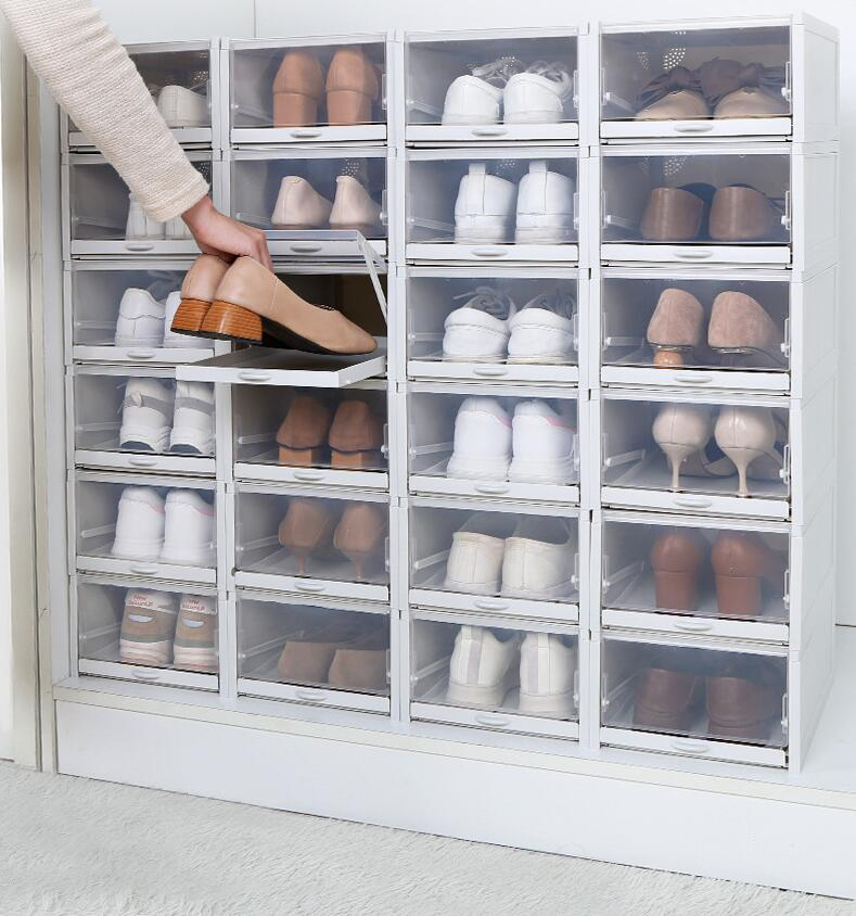 Shoes Box Small Transparent Drawer Cases Plastic Shoe Boxes Stackable Box Shoe Organizer Shoebox Storage Shoe Rack 1pc/3pcs