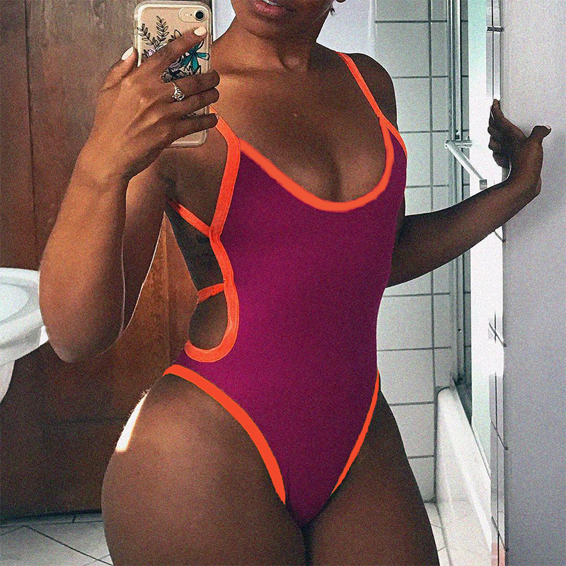 OMSJ 2019 New Hot Sexy Strap Backless Women's jumpsuits Hollow Out Women Bodysuits Fashion Color Blocking Slim Female Clothes