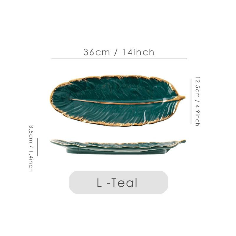 Набор керамических тарелок с золотым покрытием, модный дизайн с перьями, поднос для ювелирных изделий, столовые принадлежности, тарелка для фруктов приглушенной плотности, кухонная посуда-5