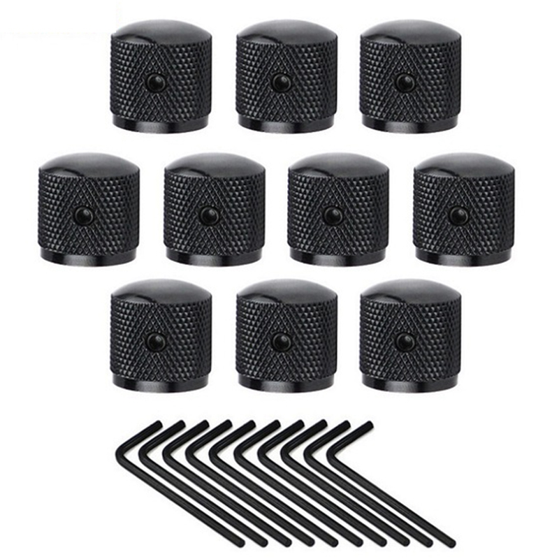 HOT-10Pcs Metal Dome Guitar Speed Control Knob Tone Volume Knob Buttons With Wrench For Electric Guitar Parts