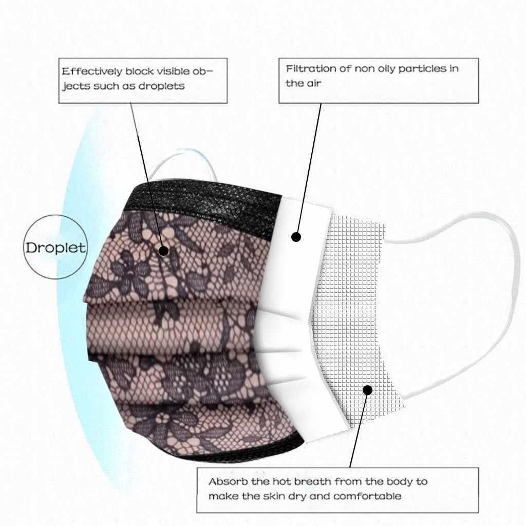 Headband masques mascarilla 100PC Adult Fashion Lace Disposable Protection Three Layer Breathable Face Mask mascarar бандана#2
