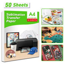 Uniplus 50 folhas a4 papel de transferência térmica sublimação para impressora a jato tinta diy saco de roupas caneca copo cerâmica transferência térmica