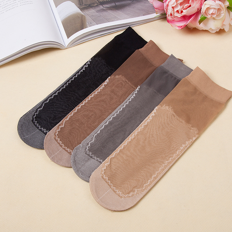 1 Pairs Velvet Short Stockings Lady With Cotton Bottom Non-skid Short Silk Socks Press Morse Thigh High  Kawaii Women