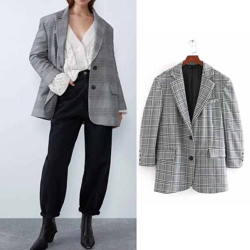 Women's jacket 2019 za notched plaid printed elegand style blazer women pockets single breasted loose ladies blazer casual jacke