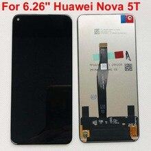 100% teste original preto 6.26 original for para huawei honor 20 honor20 /nova 5 t YAL L21 display lcd de tela toque digitador assembléia peças