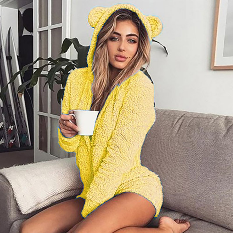5XL Women Jumpsuits Fleece Pajama Bear Ear Hooded Bodysuit Shorts Winter Warm Tracksuit Streetwear One-piece Sleepwear Plus Size 14