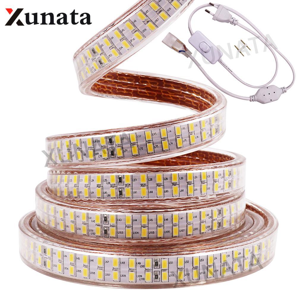 AC220V SMD 5730 LED Strip Super Bright Bouble Row Waterproof Led Ribbon Tape 240Leds/m Flexible Led Light With Switch EU Plug