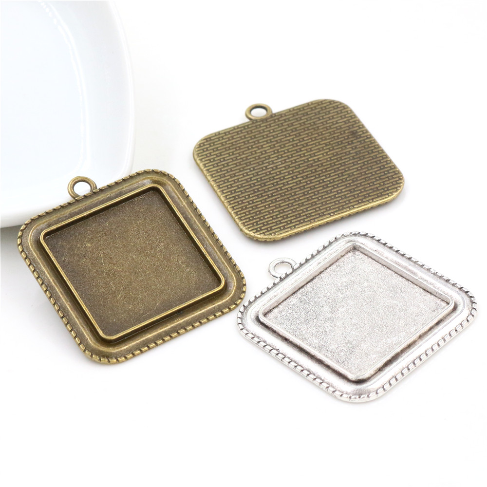 New Fashion 5pcs 25mm  Inner Size Antique Bronze Square Cabochon Base Setting Charms Pendant Tray
