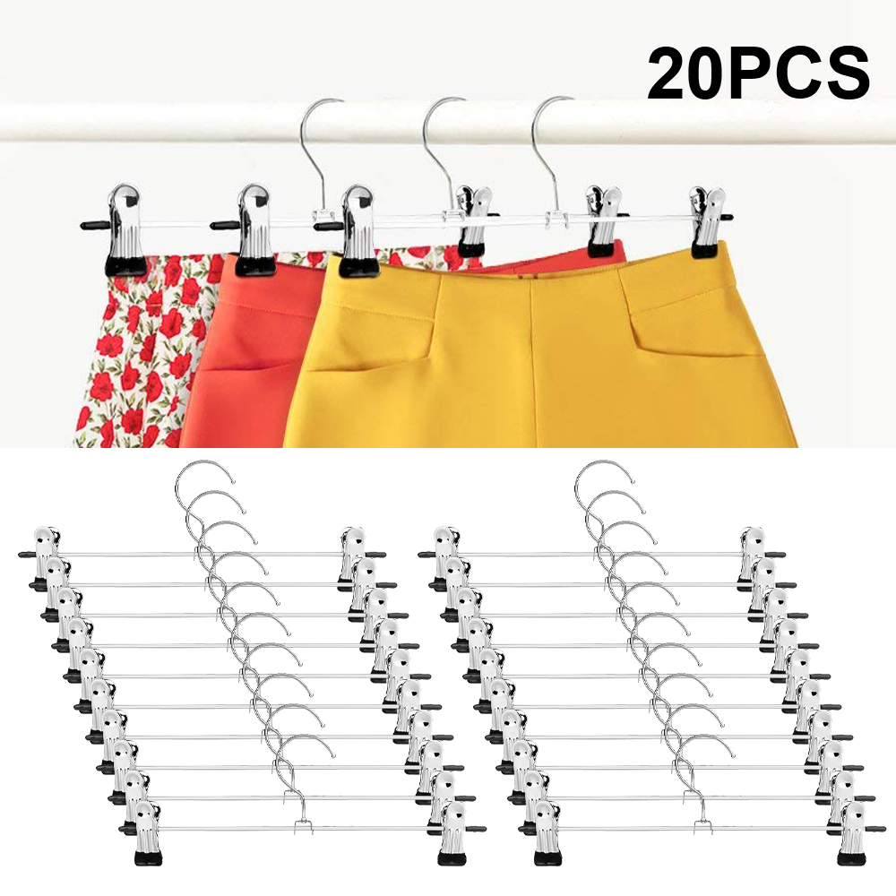 Pant Hangers Skirt Hangers with Clips 20 Pack Metal Trouser Clip Hangers for Space Saving, Ultra Thin Rust Resistant Hangers f