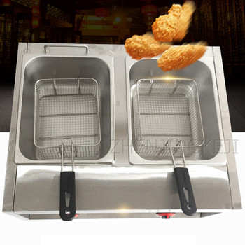 Commercial Gas Double-cylinder Fryer Fry Pan French Fries Machine Fried Chicken Oven Frying Equipment 2500W Food Processor Tools air frying pan new special price large capacity intelligent oil smoke free fries machine automatic electric frying pan 220v 3l