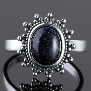 100% Sterling Silver Ring New Classic Blue Sandstone Gemstone Goose Stone Ring 7x9 Europe Retro Thai Silver Exaggerated