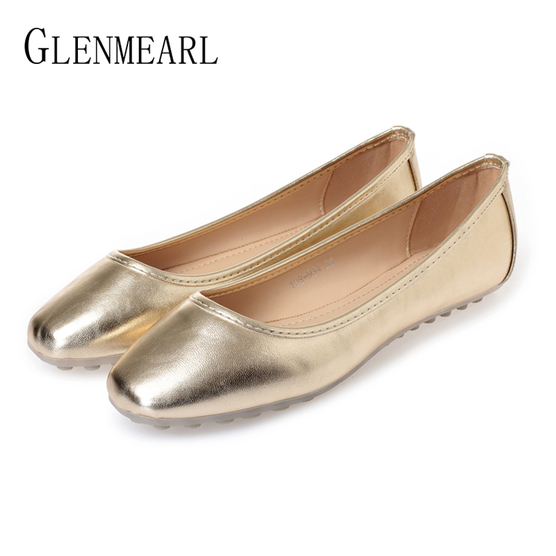 Buy Women Flats Boat Shoes Slip On Round Toe Woman Loafers Gold Sliver Casual Shoes Soft Comfortable Working Shoes Female Plus Size