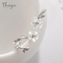 Thaya белая вишня s925 Серебряные серьги цветок круглый Кафф серьги для женщин элегантные ювелирные изделия