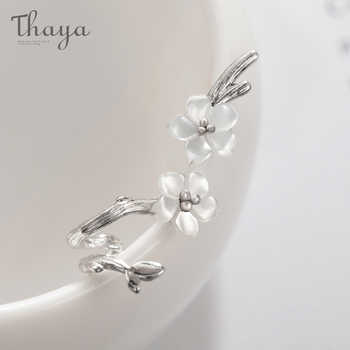 Thaya White Cherry s925 Silver Earrings Flower Round Cuff Earrings For Women Elegant Fine Jewelry - DISCOUNT ITEM  45% OFF All Category