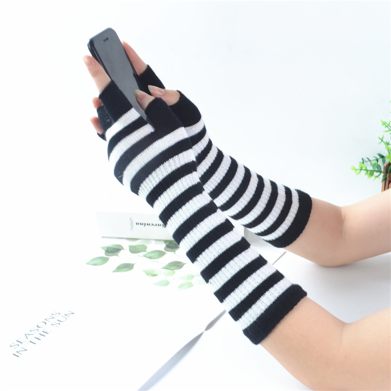 Black White Stripes Long Gloves Women Fashion Winter Long Design Stripes Mittens & Gloves Female Warm Stripes Fingerless Gloves