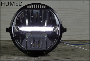 Universal Motorcycle Modern retro style modification LED headlight driving light CR150 AC300 502 6 5inch universal retro motorcycle modification led headlight lamp with guard cover yellow driving light gn125 250