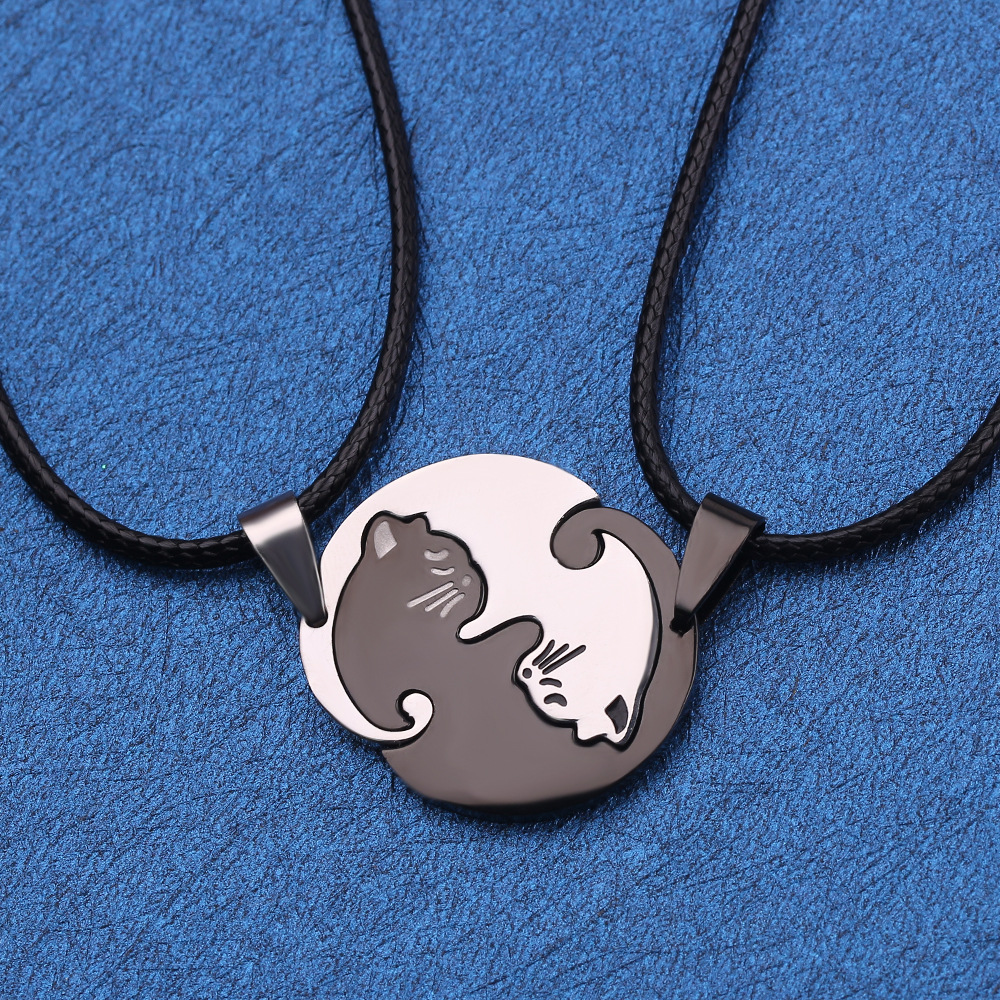 Couple jewelry necklace black&white couple necklace titanium steel animal cat pendant necklace men&women Valentine's day gift
