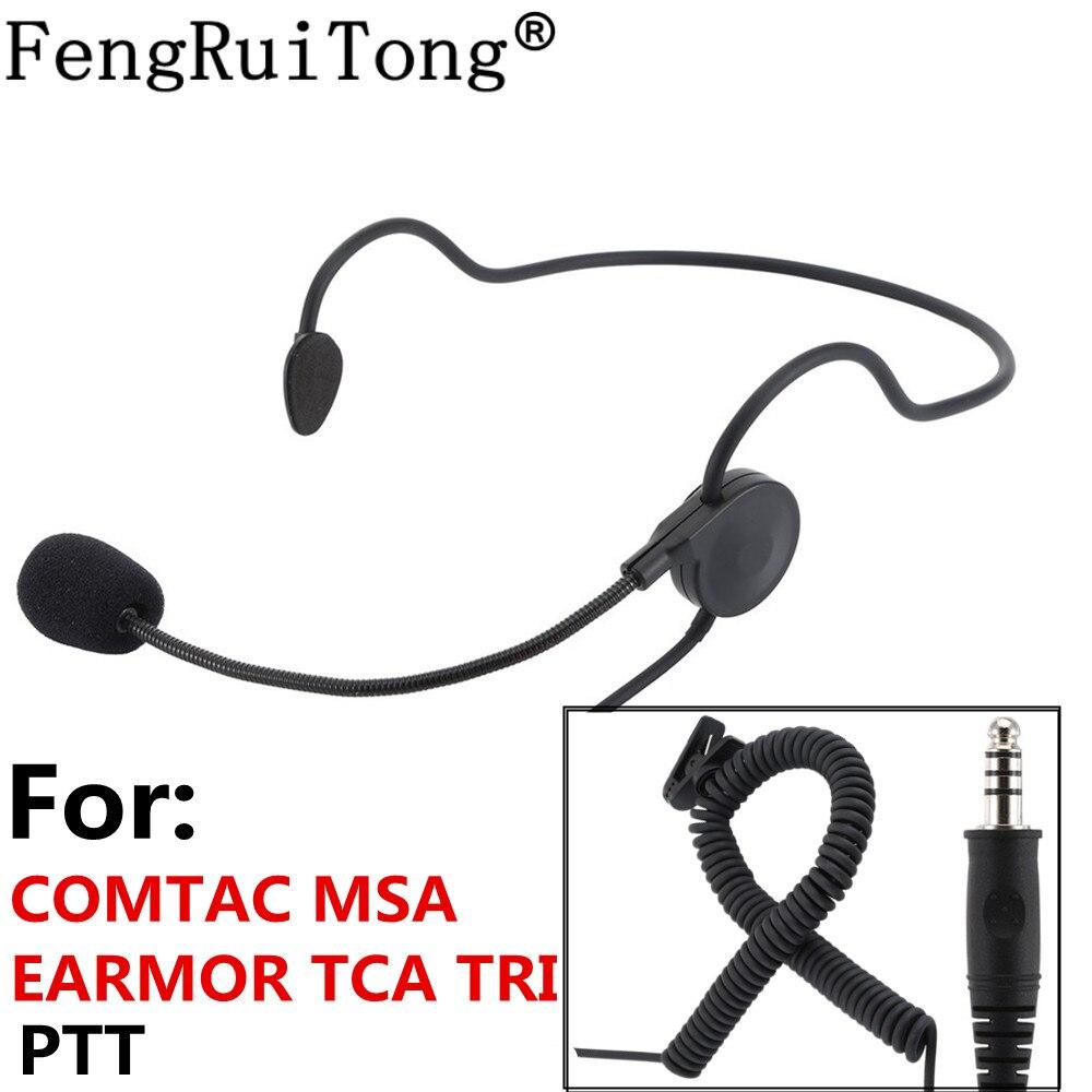 Tactical Headset Adjustable Microphone Stick NATO Plug Headset For COMTAC MSA EARMOR TCA TRI PTT For Prc152 PRC148 Walkie-talkie