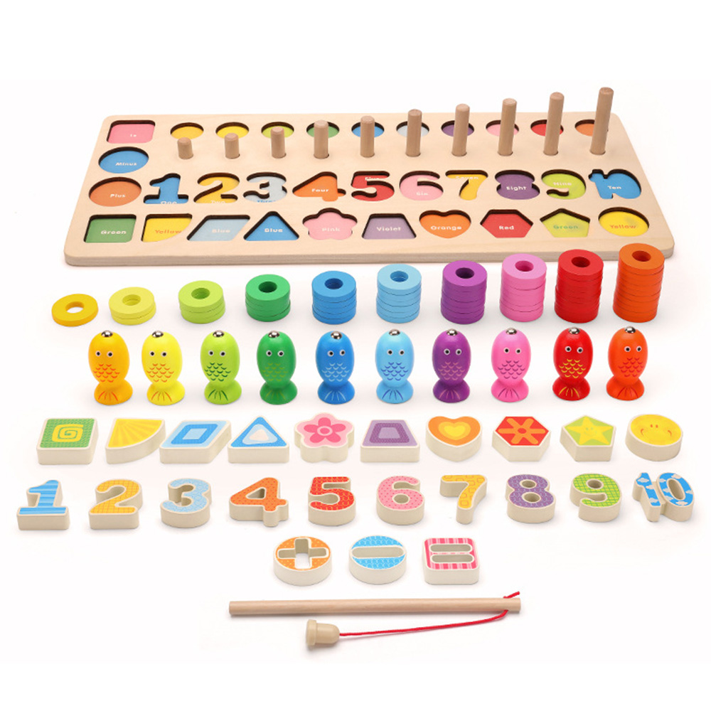 Wooden Digital Mumerator Shape Paired With Building Blocks Early Education Toys To Develop Children's Intelligence