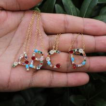 Gold color fashion charm 26 Alphabet pendant necklace micro pave zircon initial letter necklaces Couple Name