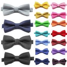 Для мужчин с бантом галстук высшего качества в горошек цвет: черный, синий красная бабочка детская гладкой Мягкий Бабочка для свадьбы или выпускного бала вечерние галстуки