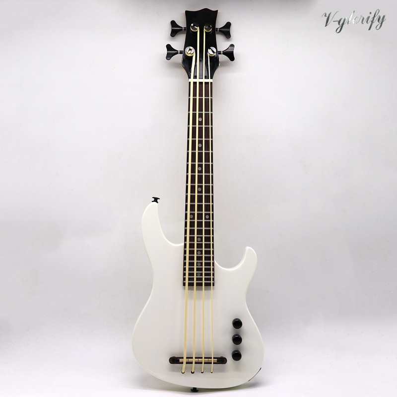 Full Solid Basswood Body White Color Electric U Bass Ukulele Guitar 30 Inch High Gloss 4 String Ukulele Guitar