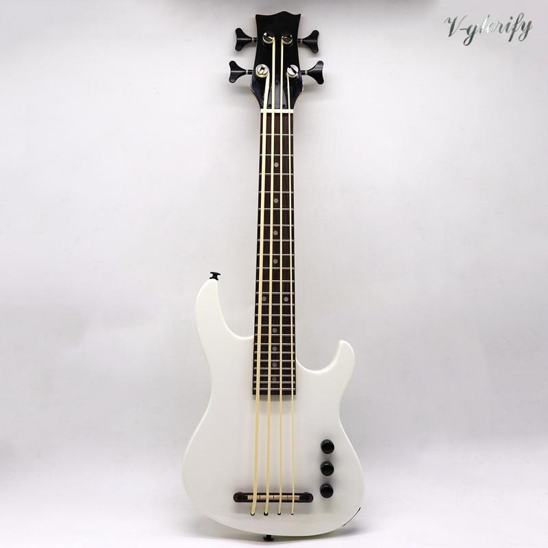 Full Solid Mahogany Wood Body White Color Electric U Bass Ukulele Guitar 30 Inch High Gloss 4 String Ukulele Guitar