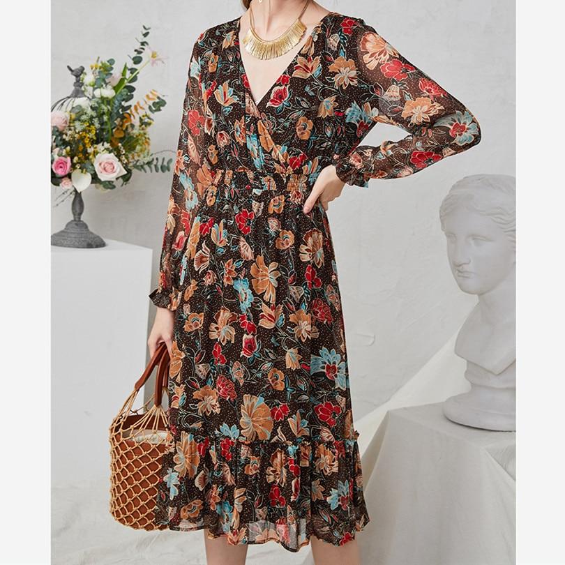 Women's V-neck Silk Midi Dress Floral Print French 2020 Spring Summer New Lady Long Dress
