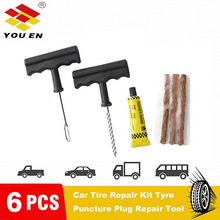 YOUEN 6Pcs Car Bike Auto tubeless Tire Repair Kit Tyre Puncture Plug Repair Tool Kit Puncture Tubeless Tire Plug Repair Tool 10pcs tire repair kit diagnostic motorcycle tools tubeless tire repair kit car van vehicle wheel tire puncture mending tools