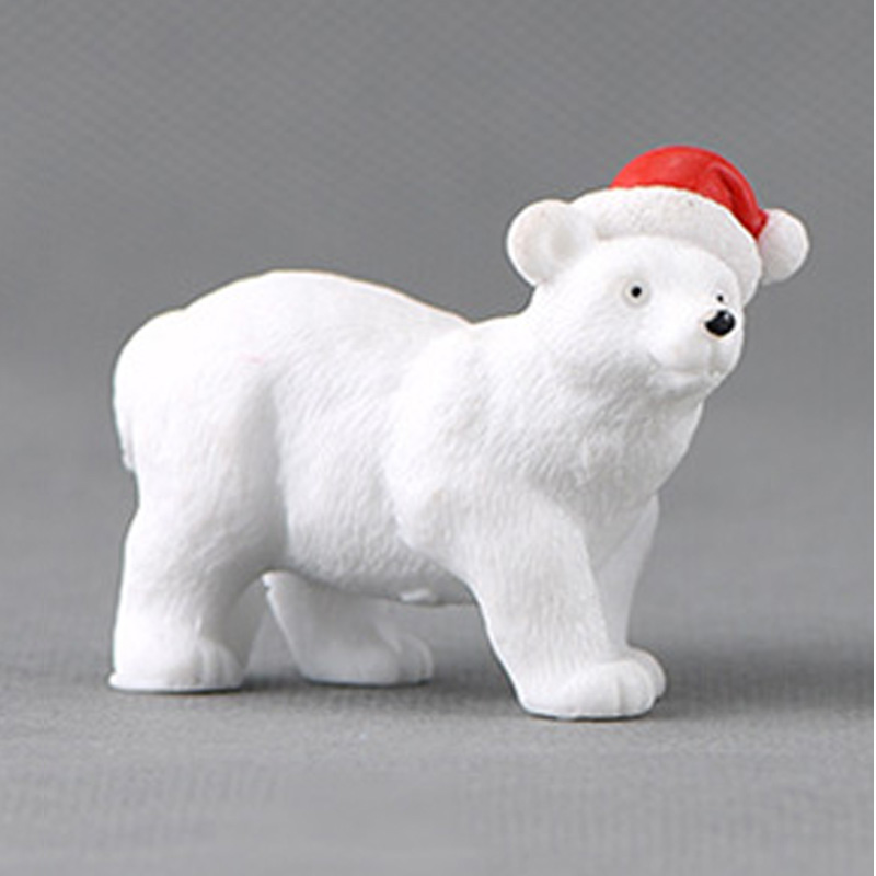 Animal Miniature Christmas Polar Bear Figurines Fairy Garden Micro Snow Landscape Bear DIY Accessories Resin Craft Miniature