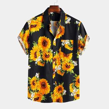 INCERUN 2020 Summer Sunflower Printed Shirts Men Hawaiian Vacation Beach Shirt Short Sleeve Turn Down Collar Blouse Casual Tops girls plaid blouse 2019 spring autumn turn down collar teenager shirts cotton shirts casual clothes child kids long sleeve 4 13t