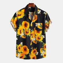 Shirts Men Sunflower-Printed Hawaiian Beach-Blusas Blouse Short-Sleeve Collar Casual-Tops