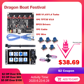цена на BIGTREETECH BTT SKR V1.4 SKR V1.4 Turbo 32Bit Board TFT35 V3.0 Touch Screen TMC2208 TMC2209 Driver vs MKS GEN L 3D Printer Parts