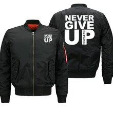 Bomber jacket men nunca desistir streetwear grosso casaco militar outwear jaquetas dos homens outono inverno 2019 plus size 8xl solto