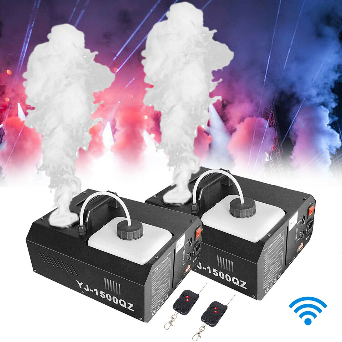 Honhill Fog Smoke Machine DMX512 1500W Wireless Fogger Machine With Remote Control Upspray Fogger Stage Disco Fogger