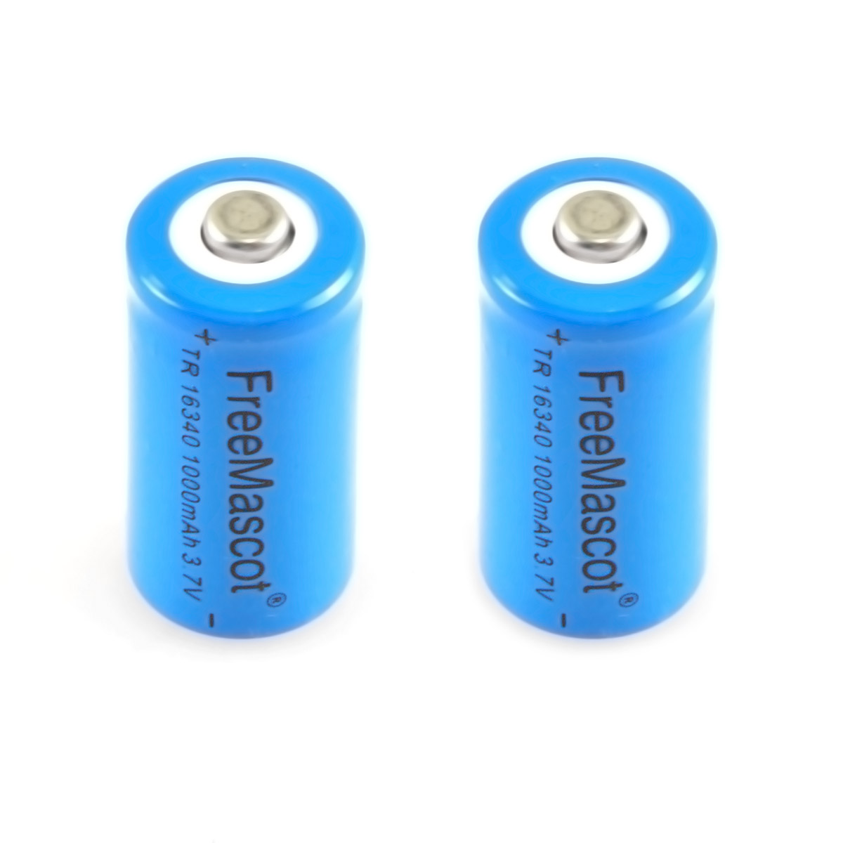CWLASRER FreeMascot 3.7V 1000mAh TR <font><b>16340</b></font> Rechargeable <font><b>Li</b></font>-<font><b>ion</b></font> <font><b>Battery</b></font> (2 pcs) (Blue) image