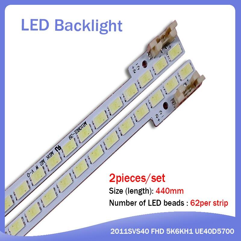 2piece/lot UA40D5000PR LTJ400HM03-H LED Strip BN64-01639A 2011SVS40-FHD-5K6K-Right LEFT 2011SVS40 56K H1 1CH PV 440mm 62LED